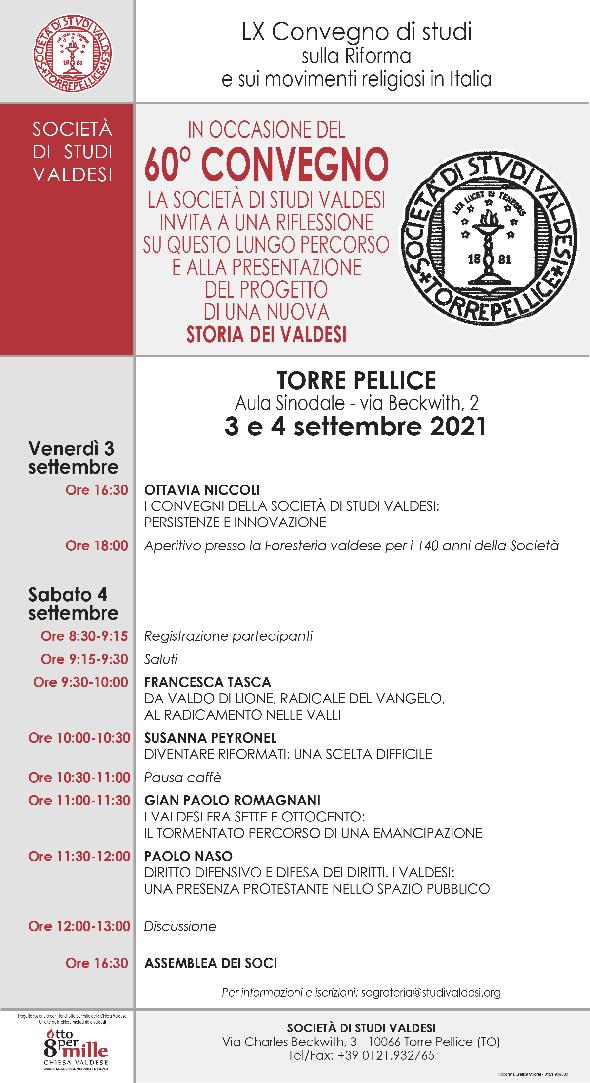 LX Convegno di studi sulla Riforma e sui movimenti religiosi in Italia