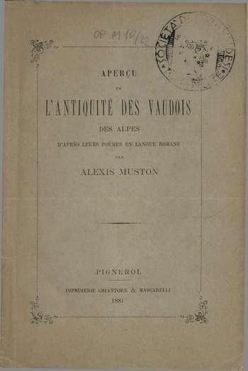 Aperçu de l'antiquité des vaudois, A. Muston