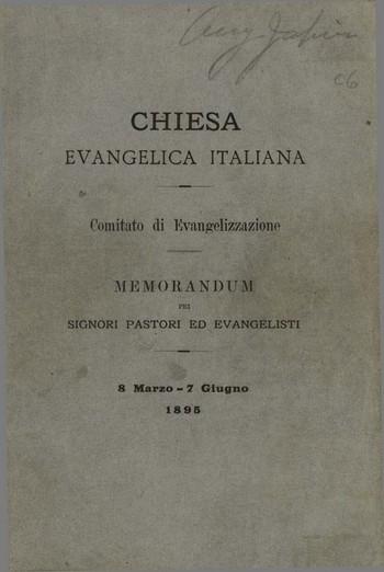 Chiesa Evangelica Italiana - Memorandumpei signori pastori ed evangelisti