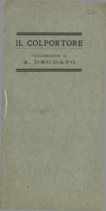 Il Colportore. Considerazioni, A. Deodato