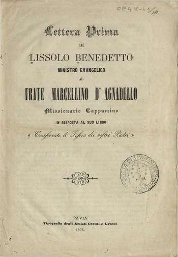 Lettera prima al frate Marcellino d'Agnadello, B. Lissolo