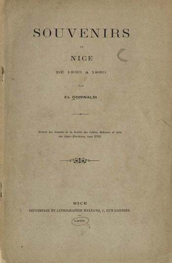 Souvenirs de Nice de 1830 a 1860, E. Corinaldi